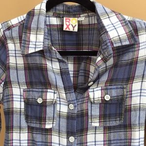 Roxy plaid flannel button up with cute button back